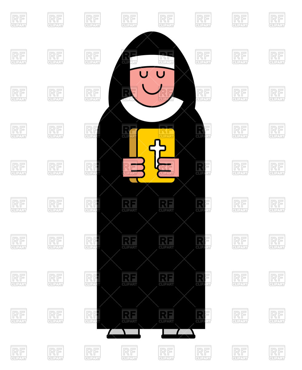 982x1200 Nun And Bible Contour Style Icon Vector Image Vector Artwork Of