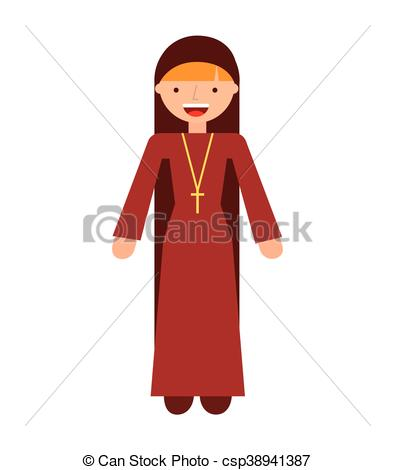 395x470 Nun Woman Religion Icon Vector Isolated Design.