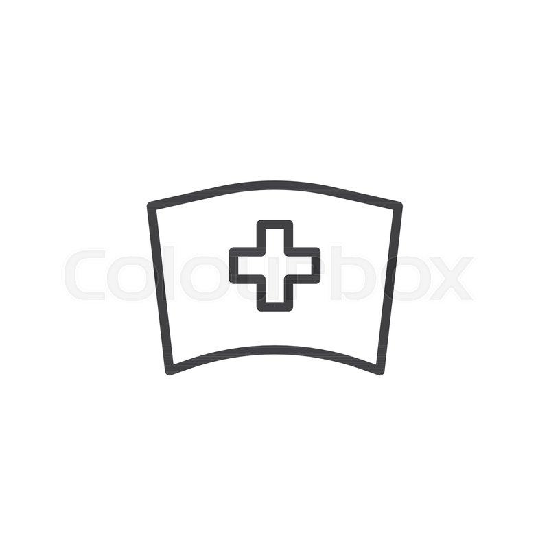 800x800 Medical Nurse Hat Line Icon, Outline Vector Sign, Linear Style