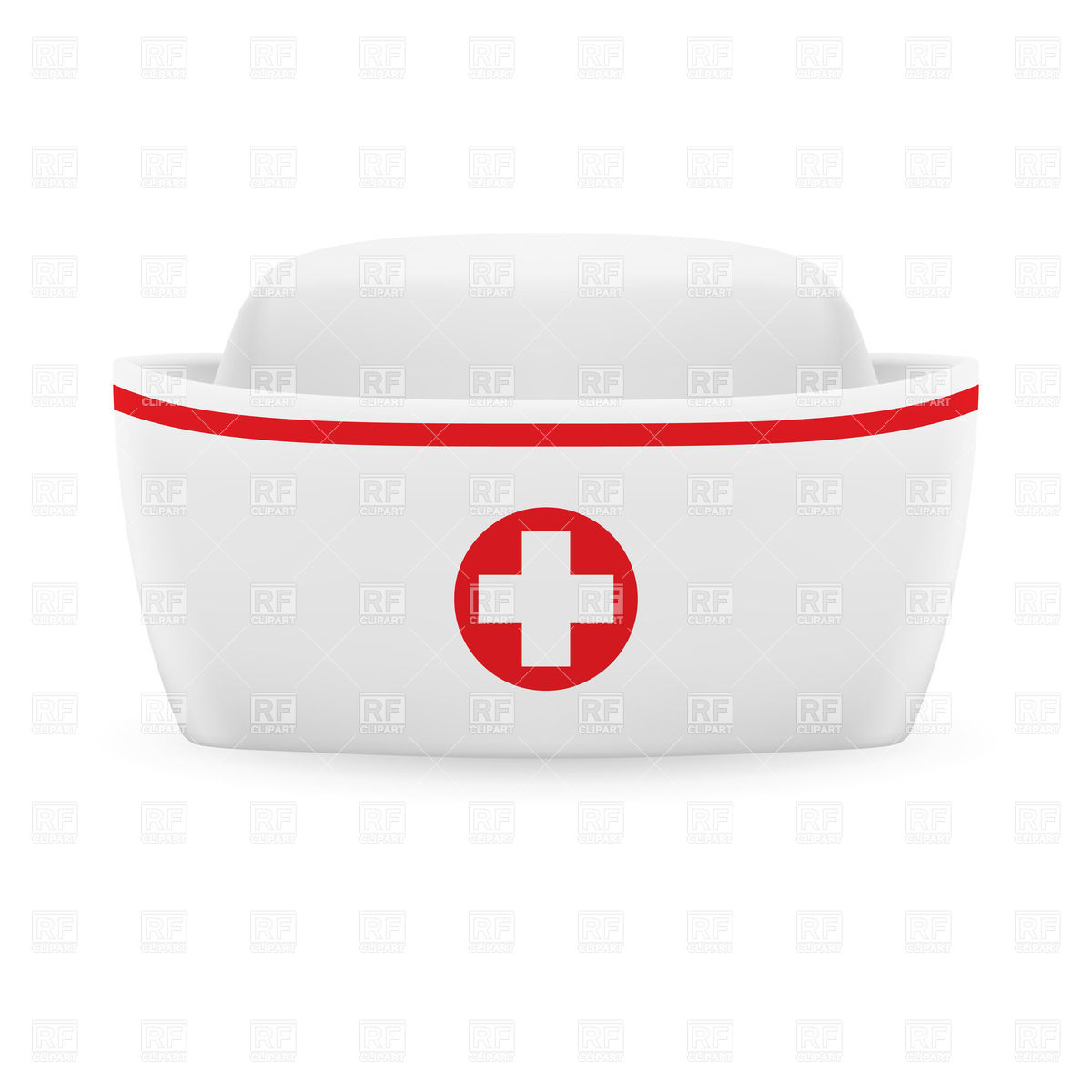 1200x1200 Nurse Cap With Red Stripe And Cross Vector Image Vector Artwork