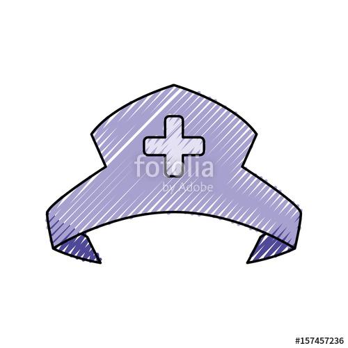 500x500 Nurse Hat Isolated Vector Illustration Icon Graphic Design Stock