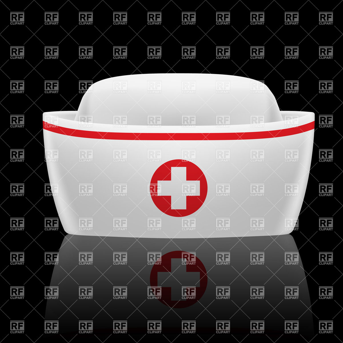1200x1200 White And Red Nurse Cap Isolated On Black Vector Image Vector