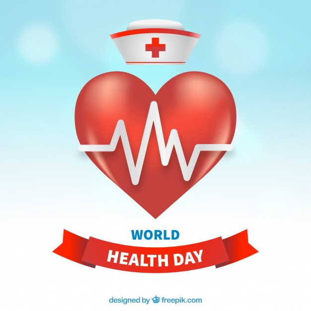 626x626 World Health Day Background With Heart And Nurse Hat Vector Free