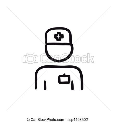 450x470 Nurse Sketch Icon. Nurse Vector Sketch Icon Isolated On Background