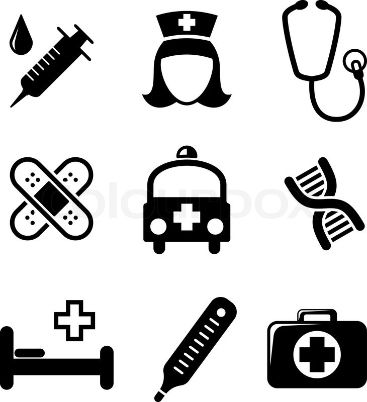 730x800 Set Of Black And White Medical Icons Including A Syringe, Nurse