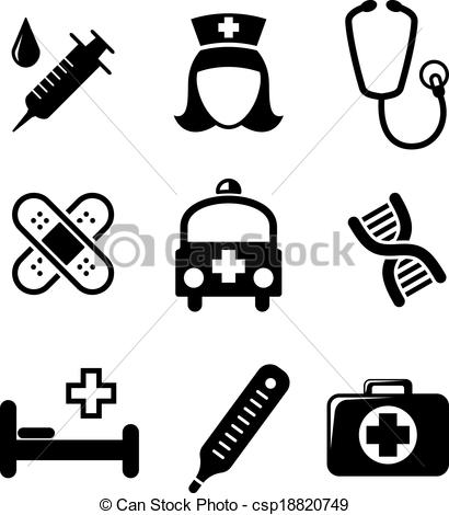410x470 Set Of Black And White Medical Icons Including A Syringe, Nurse