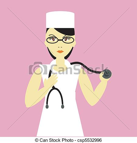 450x470 Nice Young Nurse On Pink Background Vector Illustration.