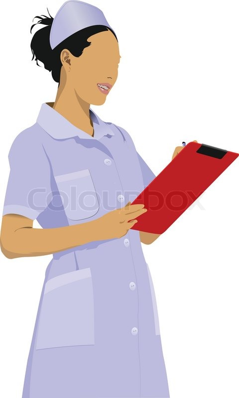 480x800 Nurse Woman With White Doctor`s Smock Vector Illustration Stock
