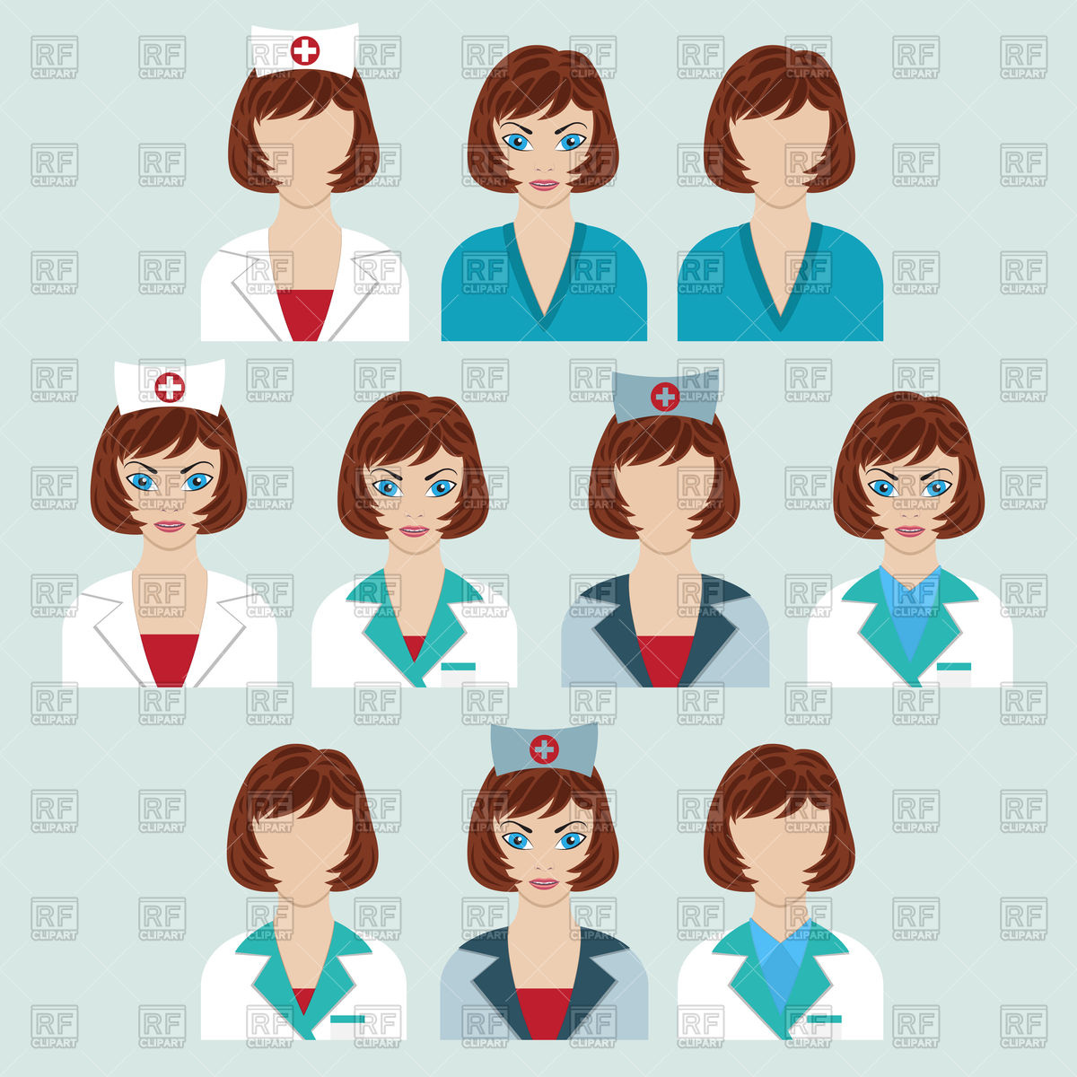 1200x1200 Set Of Medical Characters. Doctor And Nurse. Vector Image Vector
