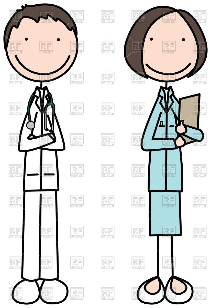 825x1200 Cartoon Illustration Of Doctor And Nurse Vector Image Vector