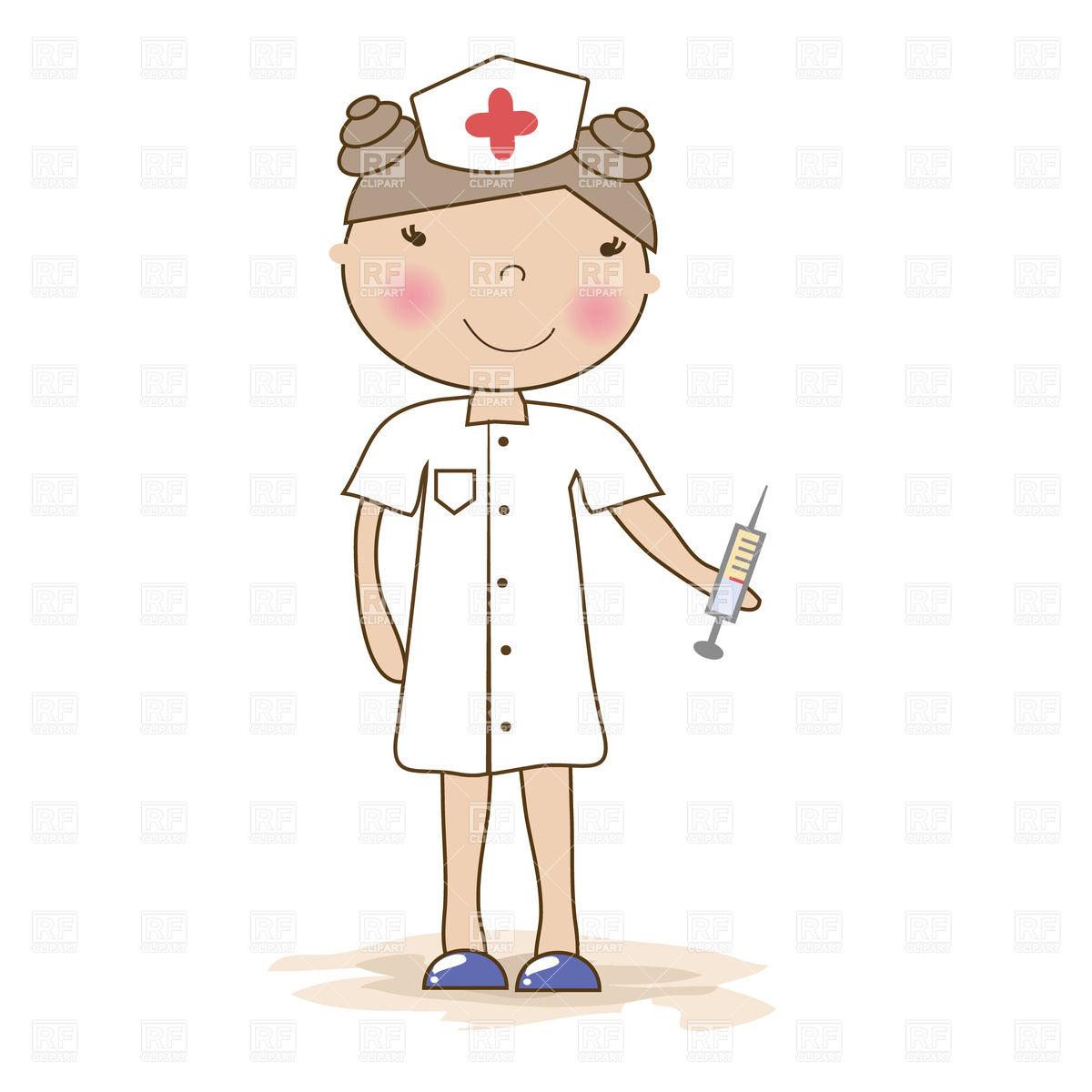 1200x1200 Cartoon Young Nurse With A Syringe Vector Image Vector Artwork