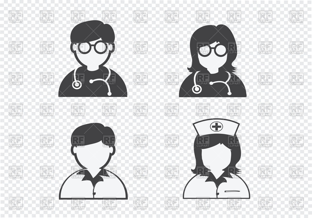 1200x841 Doctor, Nurse, And Patient Icons Vector Image Vector Artwork Of