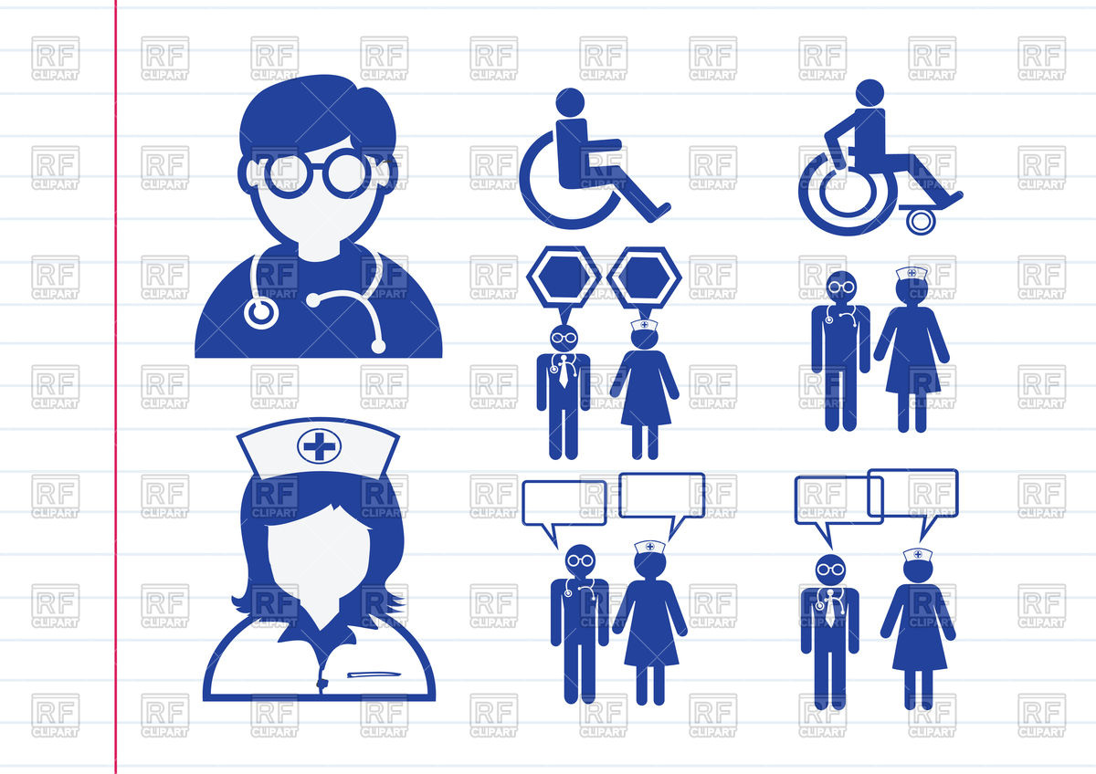 1200x848 Doctor, Nurse And Patient Icons Vector Image Vector Artwork Of