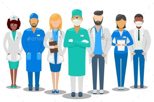 590x393 Medical Good Team. Hospital Staff Doctors And Nurse. Vector