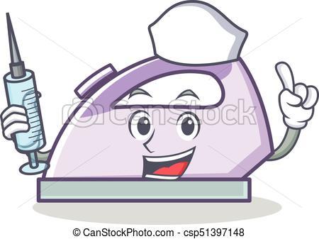 450x337 Nurse Flat Iron Character Vector Art Illustration.