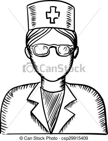 359x470 Sketch Of A Doctor Or Nurse. Black And White Sketch Of A Female