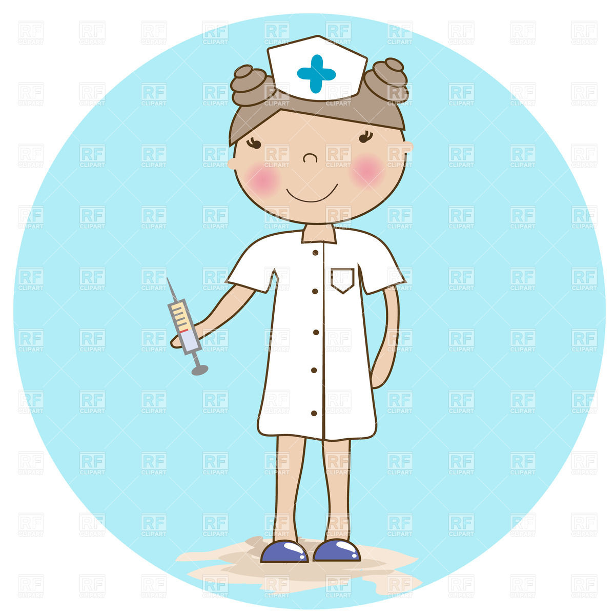 1200x1200 Young Nurse With A Syringe On Light Blue Background Vector Image