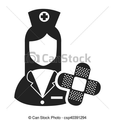 450x470 Avatar Woman Nurse With Adhesive Bandage Medicine Icon. Vector