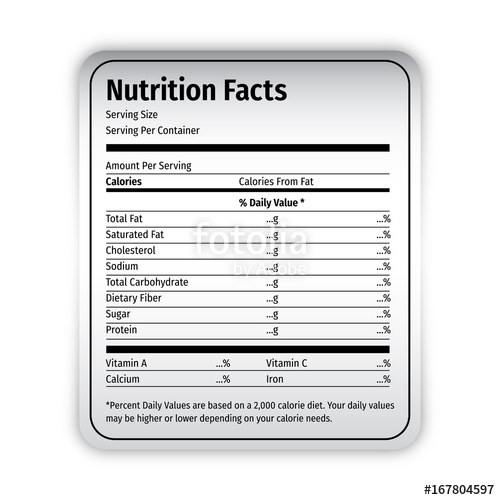 500x500 Nutrition Facts Food Label Vector Editable Stock Image And