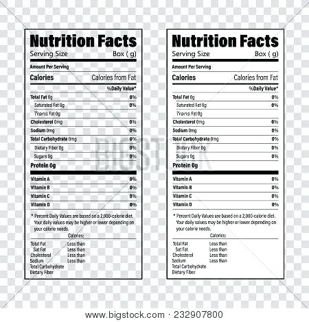 450x470 Nutrition Facts Label Stock Vector Template Png Illustration
