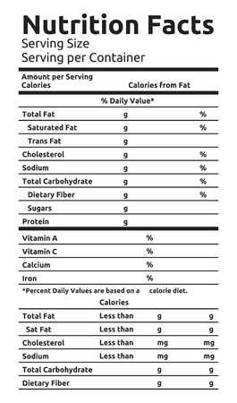 265x450 Nutrition Facts Vector Food Label