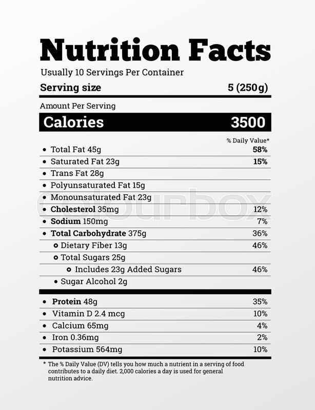 614x800 Nutrition Facts Label Design Vector Illustration. Content Of