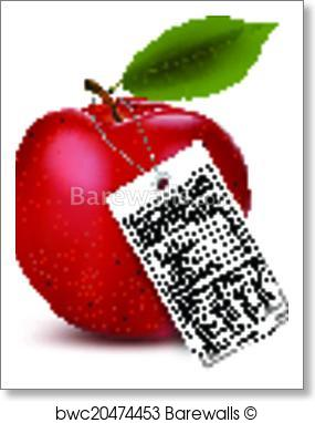 285x382 Art Print Of An Apple With A Nutrition Facts Label. Vector
