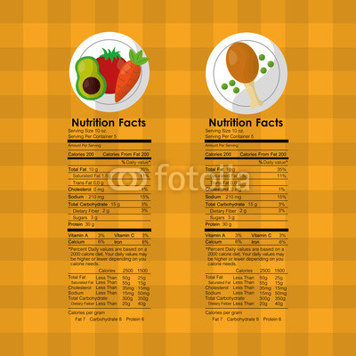 400x400 Vegetables And Roasted Chicken Nutrition Facts Food Label Vector