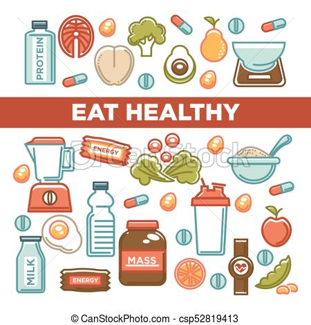 450x470 Fitness Food Poster Of Sports Healthy Diet Food Nutrition Icons