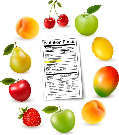 479x543 Fruits With Nutrition Facts Vector Free Vector In Encapsulated