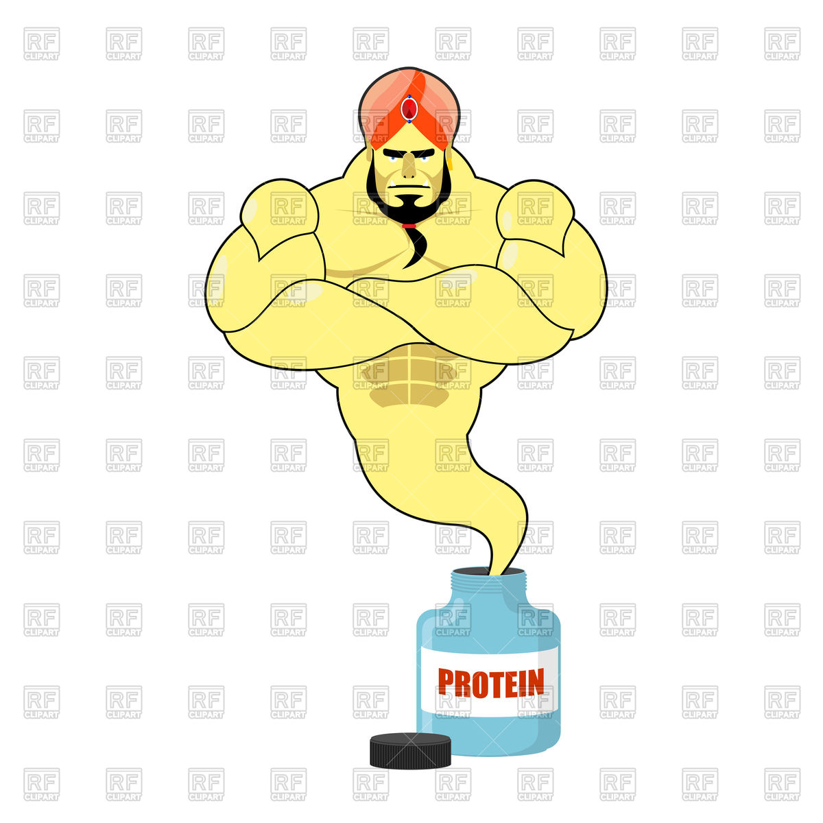 1200x1200 Genie Departs From Jar With Sports Nutrition Vector Image Vector