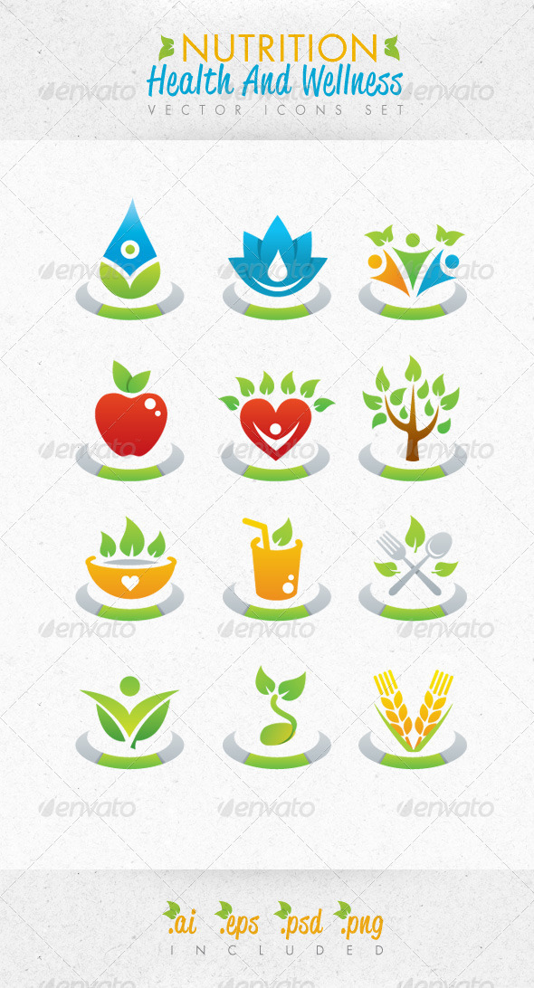 590x1092 Nutrition Health And Wellness Vector Icons Set By Subtropica
