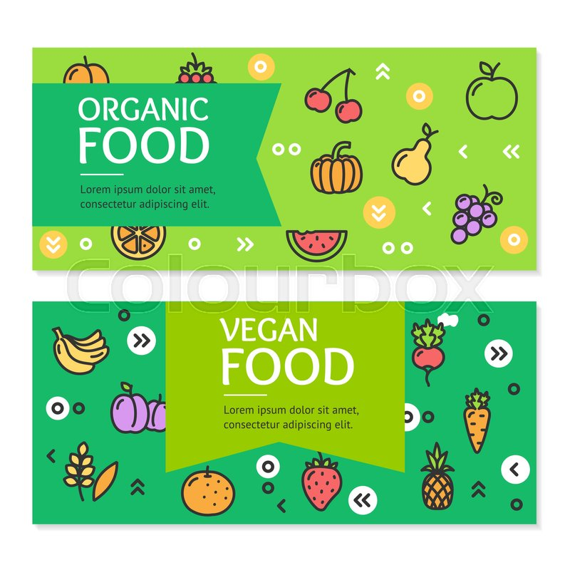 800x800 Organic Vegan Food Flyer Banner Posters Card Set Concept Of Eco