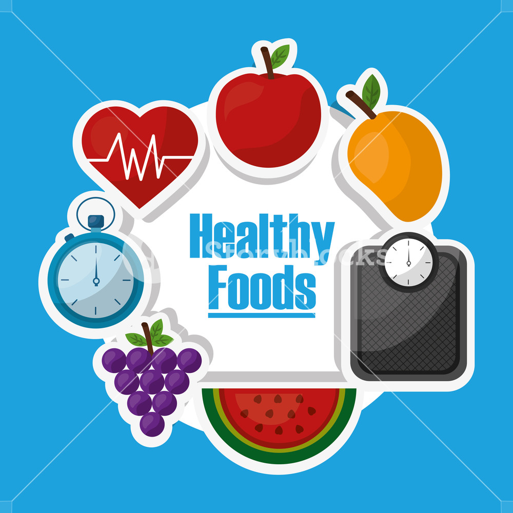 1000x1000 Healthy Lifestyle Dieting Fitness Nutrition Vector Illustration