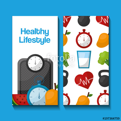 500x500 Healthy Lifestyle Vertical Banners Sport Food Nutrition Vector