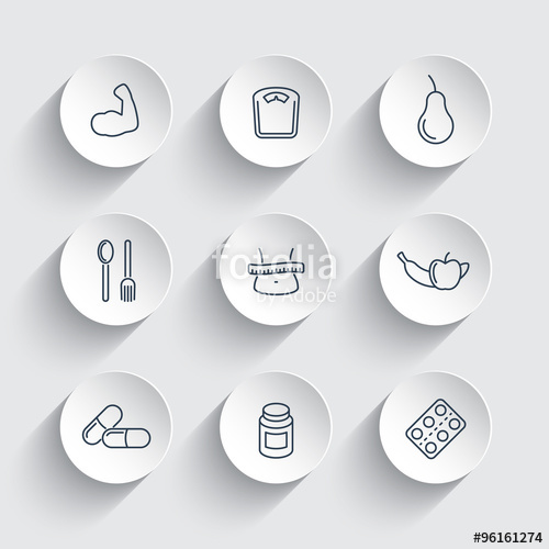 500x500 Diet, Nutrition Line Icons On Round 3d Shapes, Vector Illustration