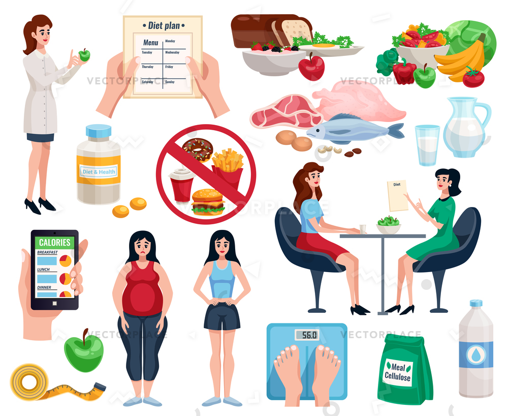 1000x818 Diet Decorative Icons Set Basic Nutrition Vector Illustration