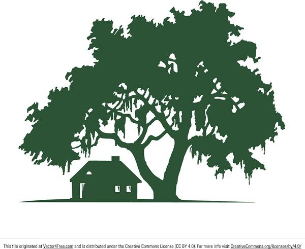 600x491 Oak Tree Vector Cabin Silhouette Vector Free Vector In Adobe