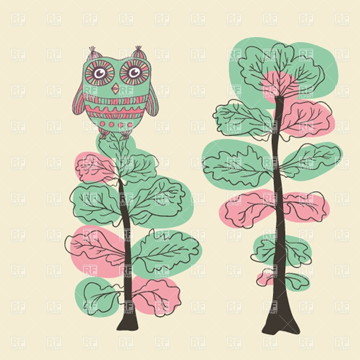 1200x1200 Hand Drawn Owl On The Oak Vector Image Vector Artwork Of Plants