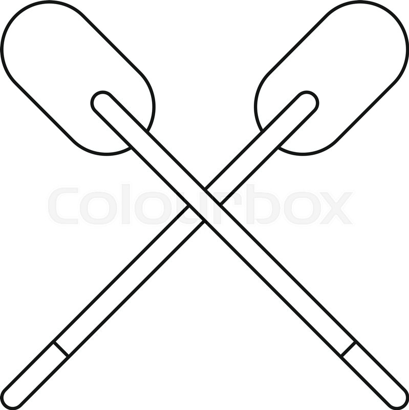 799x800 Two Wooden Crossed Oars Icon In Outline Style Isolated Vector