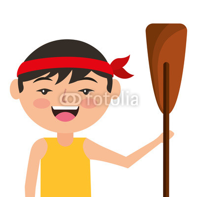 400x400 Portrait Cartoon Man Chinese With Wooden Oar Vector Illustration