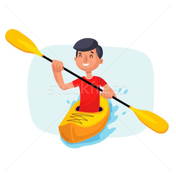 600x600 Kayaking Paddling On Boats Vector. Having Fun. Paddle Oar. Sport