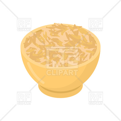 400x400 Oat In Wooden Bowl Isolated Vector Image Vector Artwork Of Food
