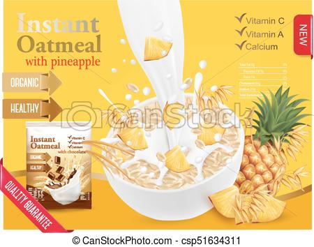 450x354 Instant Oatmeal With Berry Advert Concept. Milk Flowing Into A