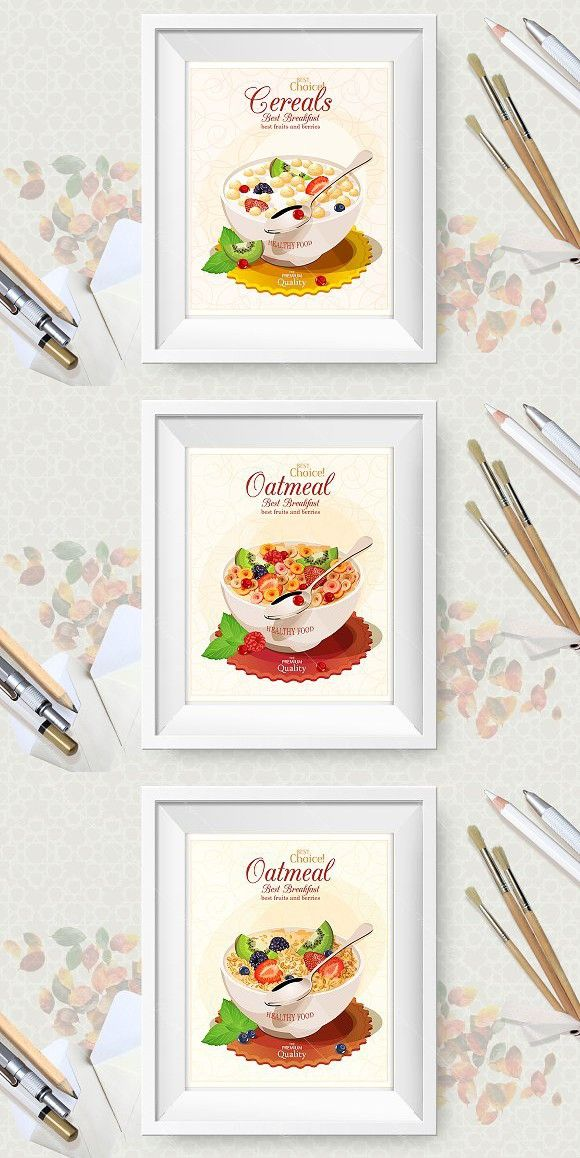 580x1158 Oatmeal Vector Poster Set Oatmeal