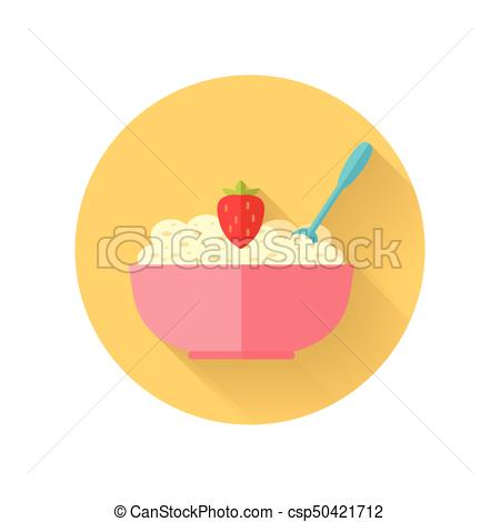 450x470 Oatmeal Dish Vector Illustration In Flat Design. Oatmeal Vector