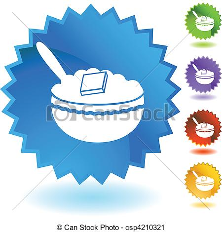 450x470 Oatmeal Web Button Isolated On A Background. Vector Clip Art