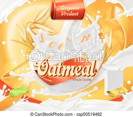 450x395 Oatmeal. Oat Grains And Milk Splashes. 3d Realistic Vector