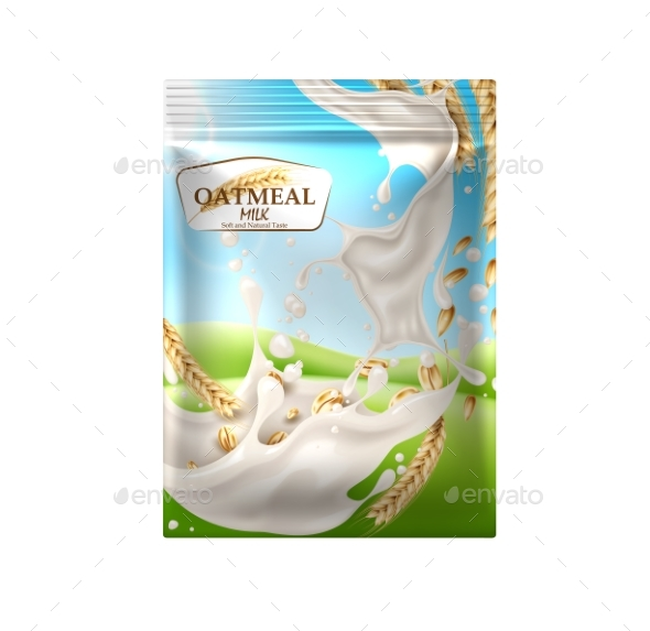 590x573 Vector Oatmeal Milk Product Package Blue Sky By Iwhitewings