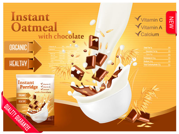 600x450 Instant Oatmeal With Chocolate Poster Vector 01 Free Download